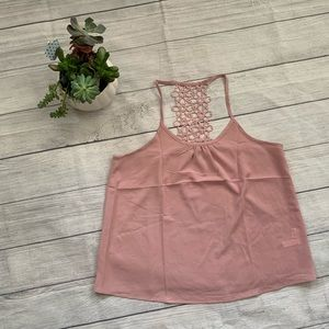 Tops - Embroidered Detail Solid Cami Size Medium Pink